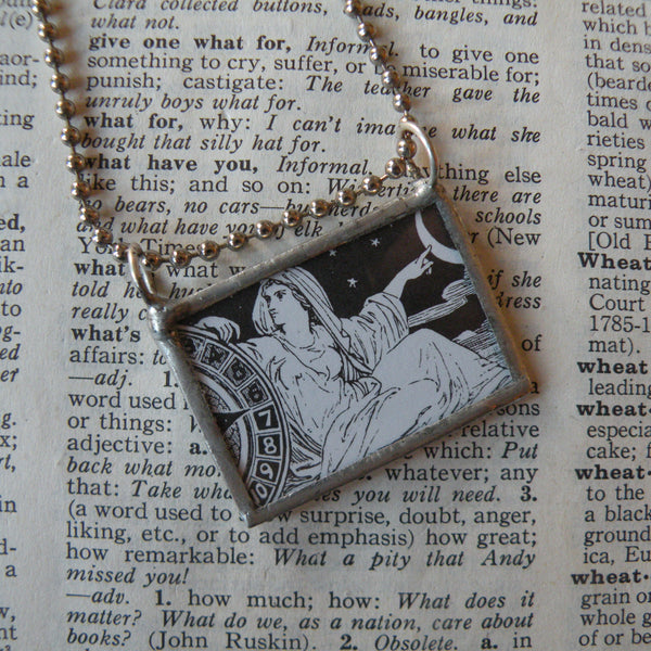 Selene moon Goddess, Apollo sun God, Greek and Roman mythology, vintage dictionary illustration, upcycled to soldered glass pendant