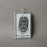 Human mouth, vintage dictionary illustration up-cycled to soldered glass pendant