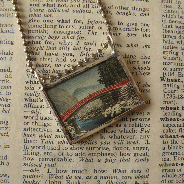 Japanese Woodblock Print, bridge in snow, Mount Fuji, upcycled to soldered glass necklace