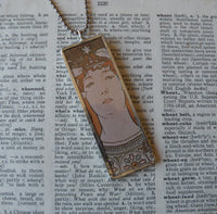 Alphonse Mucha art nouveau woman painting, upcycled to hand-soldered glass pendant