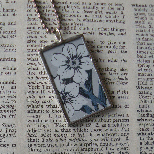 Crocus, Narcissus, vintage botanical illustrations, hand-soldered glass pendant
