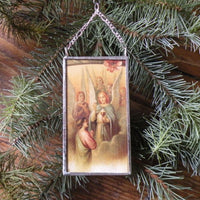 Angels and nativity scene, vintage French Christmas postcards, upcycled to hand-soldered glass Christmas tree ornament
