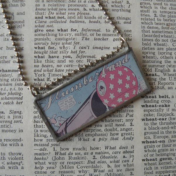 Little Nemo, vintage children's book comic book illustration up-cycled to soldered glass pendant