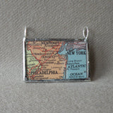 New York, Philadelphia, vintage atlas map up-cycled to hand soldered glass pendant