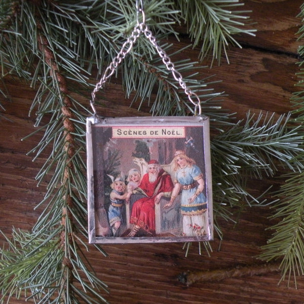 Santa Claus, Saint Nicholas, mistletoe, vintage European Christmas postcard, upcycled to hand-soldered glass Christmas tree ornament