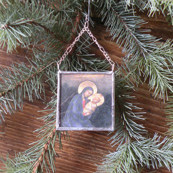 Baby Jesus and Virgin Mary, vintage Christmas greeting cards, upcycled to hand-soldered glass Christmas tree ornament