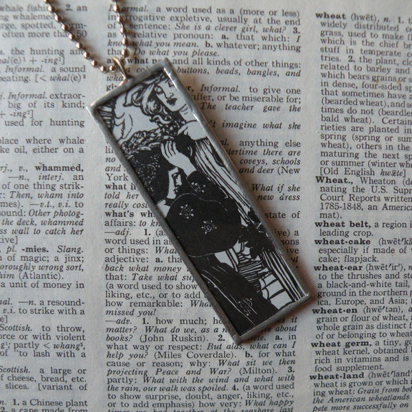 Art nouveau women, vintage illustration, upcycled to soldered glass pendant