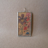 Klimt, art nouveau women and flower paintings, upcycled to hand-soldered glass pendant