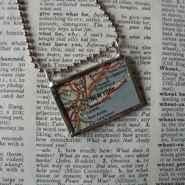 New York, vintage atlas map up-cycled to hand soldered glass pendant