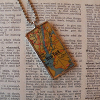 1New York city, vintage map, hand-soldered glass pendant