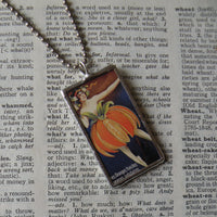 Orange tree branch, vintage botanical dictionary illustration, up-cycled, soldered glass pendant