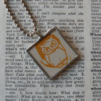Little orange owl, vintage children's book illustration, up-cycled to hand-soldered glass pendant