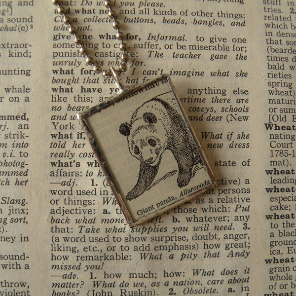 Panda, vintage 1940s dictionary illustration, up-cycled to hand-soldered glass pendant, with choice of necklace, bookmark or keychain