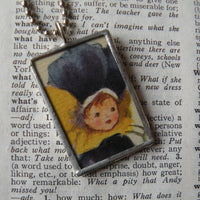 Girl in pansy costume, children's book illustration up-cycled to soldered glass pendant