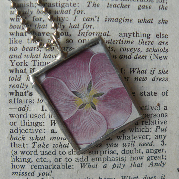 Pink and purple pansies, vintage botanical illustrations, hand-soldered glass pendant