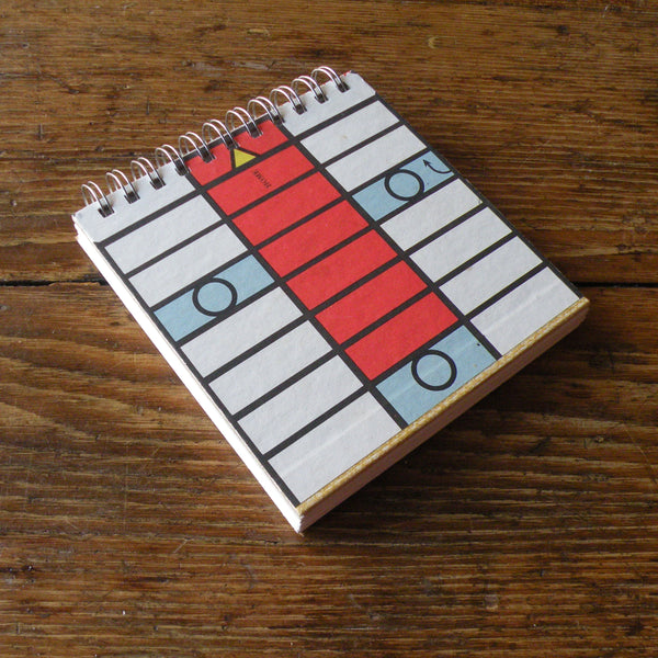 Vintage Parcheesi board game, up-cycled to wire-bound sketchbook / journal
