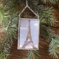 Vintage Paris travel poster images, upcycled to hand-soldered glass Christmas tree ornament
