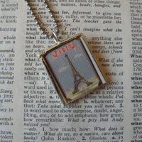 Paris France, Eiffel Tower, hand-soldered glass pendant, vintage travel poster illustrations,  upcycled to soldered glass pendant