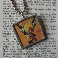 Parrot and rooster cowboys, original illustrations from vintage book, up-cycled to soldered glass pendant