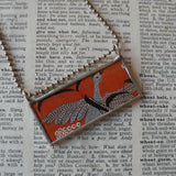 Guinea Fowl, Guinea Hen, spotted bird, Folk Art, upcycled to soldered glass pendant