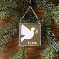Peace Dove, vintage Christmas cards, upcycled to hand-soldered glass Christmas tree ornament