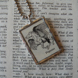 Pegasus, vintage dictionary illustration up-cycled to soldered glass pendant
