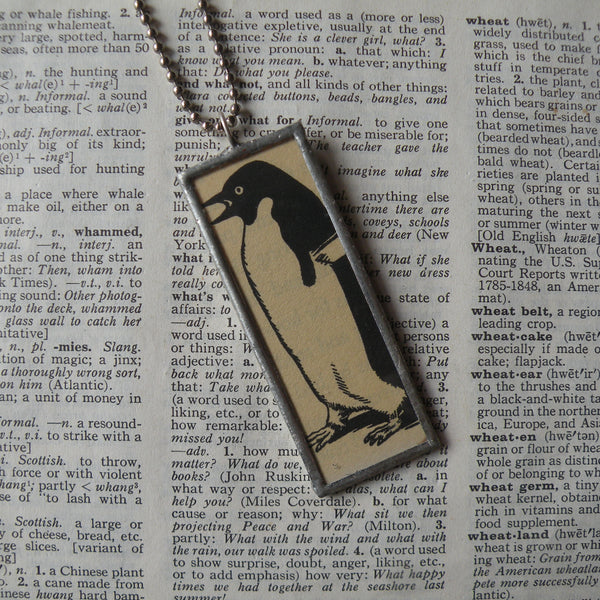 1Mr. Popper's Penguins, vintage children's book illustrations, hand-soldered glass pendant