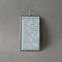 American Pennyroyal plant, vintage botanical dictionary illustration, up-cycled to soldered glass pendant
