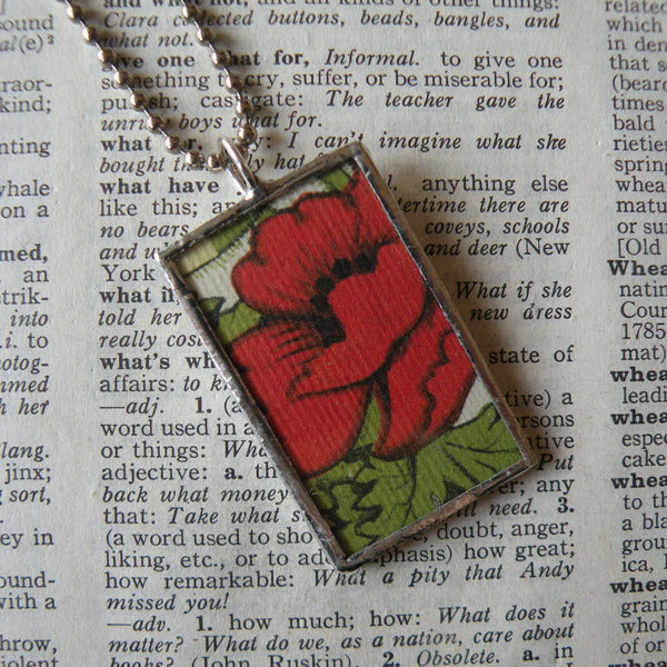 Red poppy, Oriental poppy, art nouveau flowers, vintage book illustrations up-cycled to soldered glass pendant