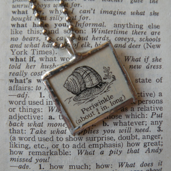 Periwinkle, vintage 1940s dictionary illustration, upcycled to soldered glass pendant