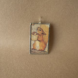 Squirrel Nutkin, original illustrations from vintage, children's classic book, up-cycled to soldered glass pendant