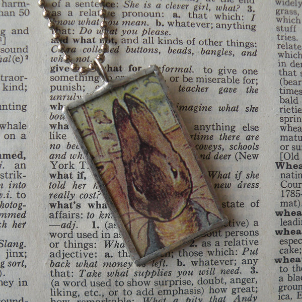 Peter Rabbit, original illustrations from vintage, children's classic book, up-cycled to soldered glass pendant