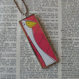Petunia, original illustrations from vintage book, up-cycled to soldered glass pendant