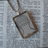 Phrenology, vintage dictionary illustrations, up-cycled to soldered glass pendant