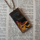 1Pablo Picasso, Three Musicians cubist painting, upcycled to soldered glass pendant