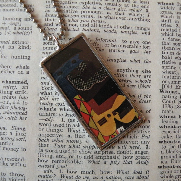 Pablo Picasso, Three Musicians cubist painting, upcycled to soldered glass pendant