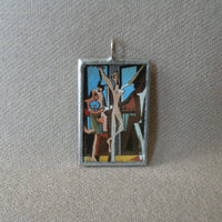 Pablo Picasso, Three Dancers, Piet Mondrian, Broadway Boogie Woogie, modern art painting, upcycled to soldered glass pendant