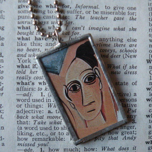 Pablo Picasso, Demoiselles D'Avignon, modern art painting, upcycled to soldered glass pendant