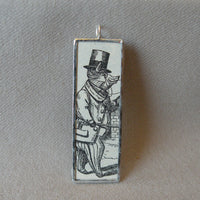Pig in top hat and tails, vintage children's book illustrations, up-cycled to soldered glass pendant