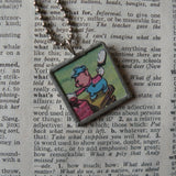 Three little pigs, big bad wolf, original illustrations from vintage book, up-cycled to soldered glass pendant