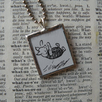 Piglet, original illustrations from vintage Pooh book, up-cycled to soldered glass pendant