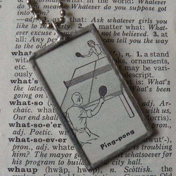 Ping pong, table tennis, vintage dictionary illustration, hand-soldered glass pendant
