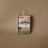 Japanese woodblock prints, Mount Fuji, up-cycled to soldered glass pendant