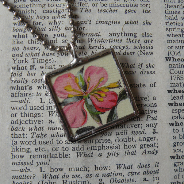 Pink and yellow flowers, botanical illustrations, 2-sided,  hand-soldered glass pendant