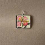 Pink aster lily, bouquet of flowers, vintage botanical illustrations, hand-soldered glass pendant
