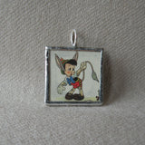 Pinocchio, vintage illustrations, up-cycled to soldered glass pendant