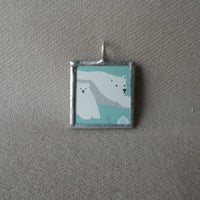 Polar Bear, charming Japanese illustrations, up-cycled to hand-soldered glass pendant
