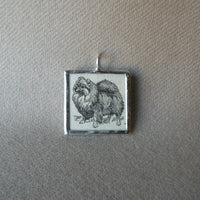 Pomeranian dog, vintage 1930s dictionary illustration, up-cycled to soldered glass pendant