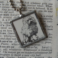 Poodle, vintage illustration, up-cycled to hand-soldered glass pendant