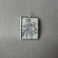 Peony, flowers, blossoms, vintage natural history illustrations up-cycled to soldered glass pendant